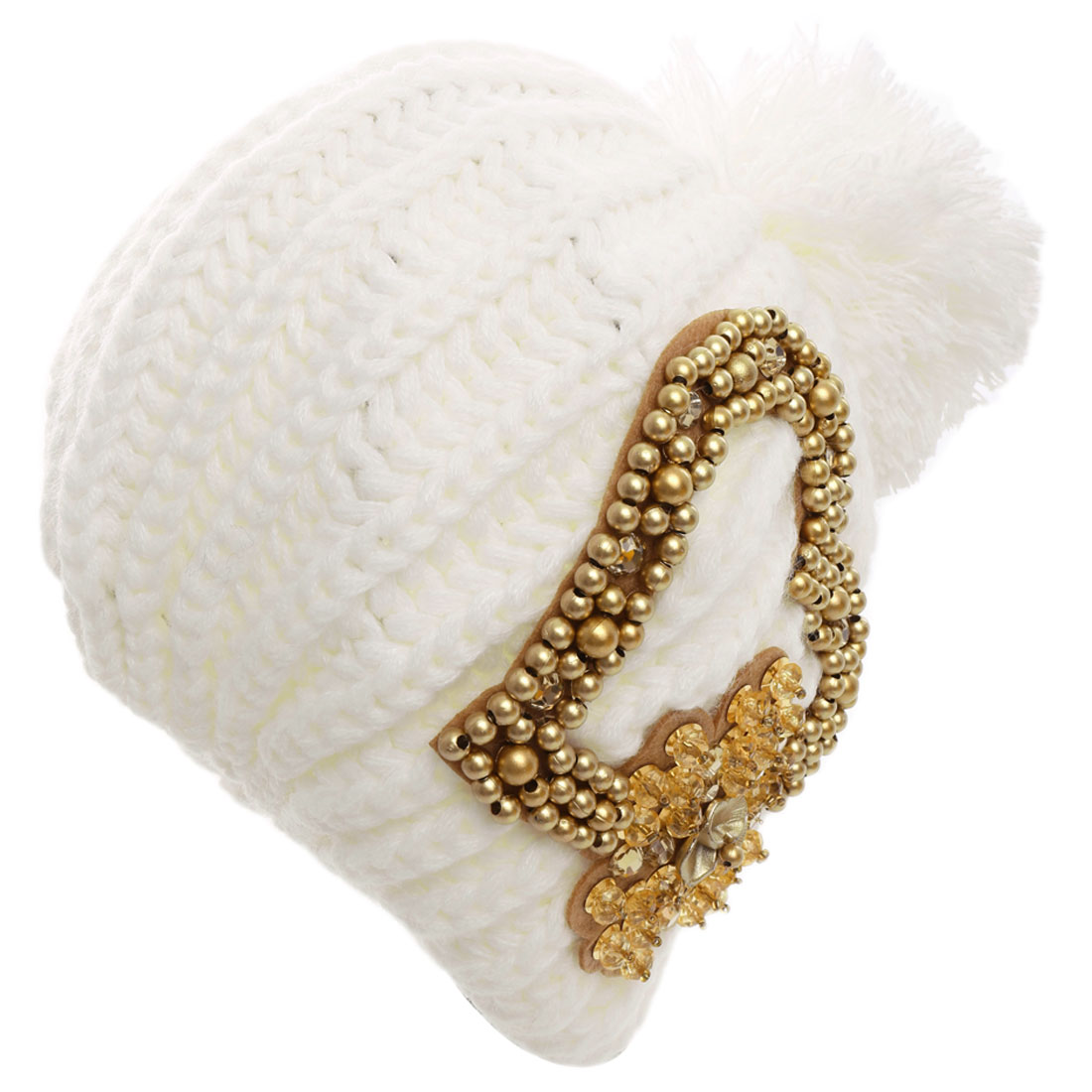 Women Flower Embellished Elastic Knitted Beanie Hat White