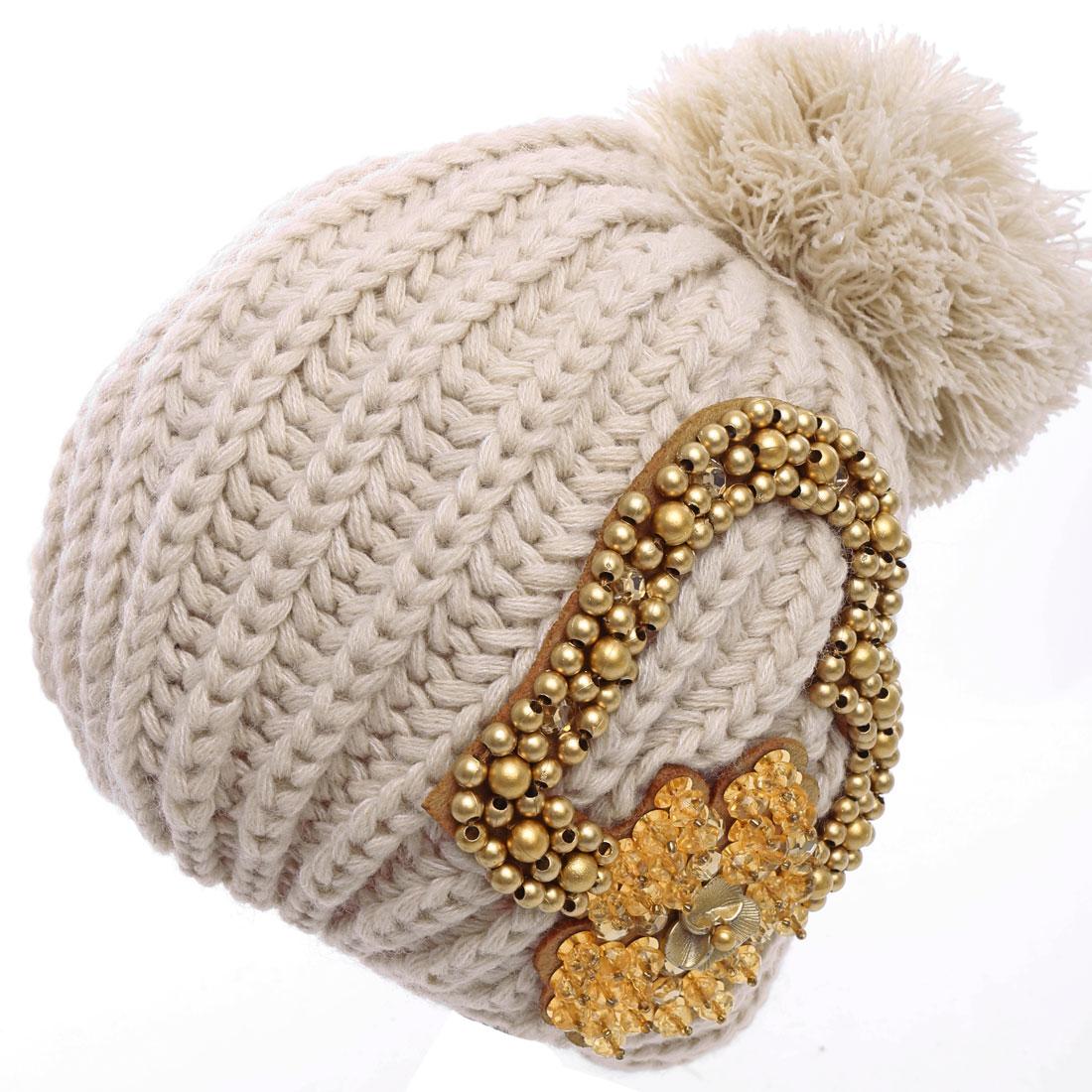 Pom-Pom Design Beads Decor Knitted Hat for Women Beige