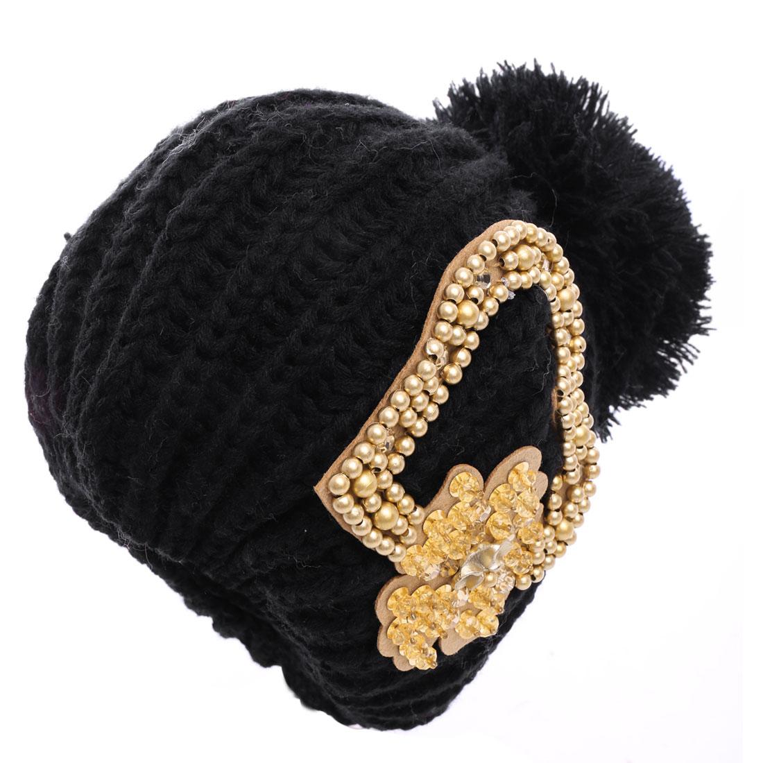 Ladies Braid Pattern Winter Wearing Knitted Beanie Hat Black