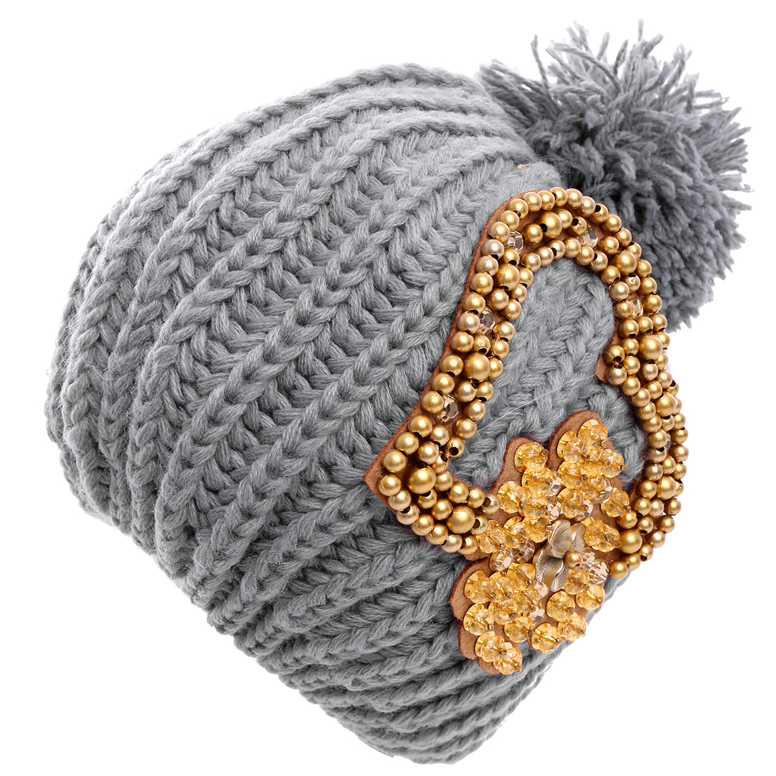 Braid Flower Pattern Knitted Beanie Hat for Ladies Gray