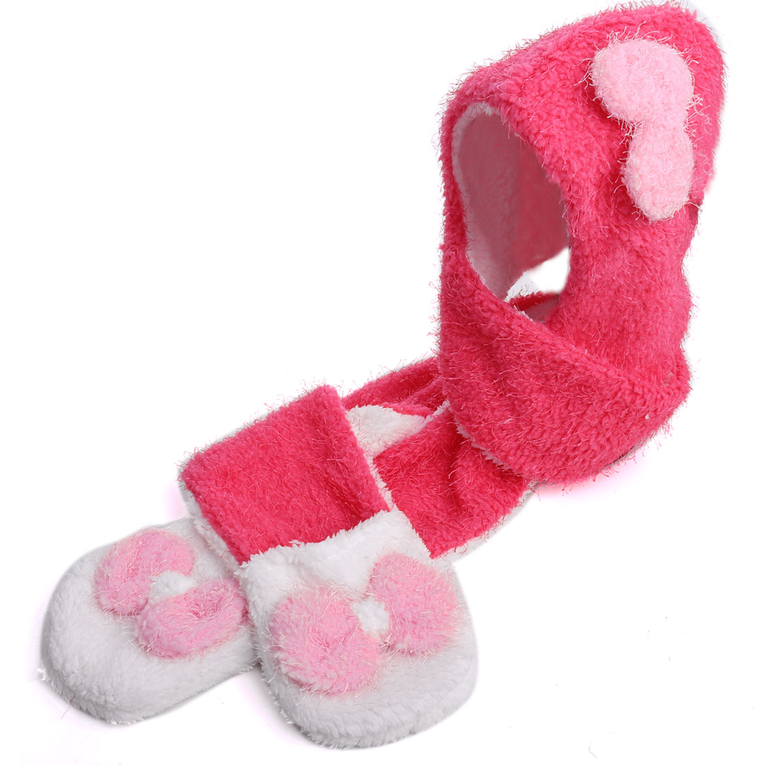 Girls Bowknot Decor Gloves Lovely Warm Scarf Hot Pink White