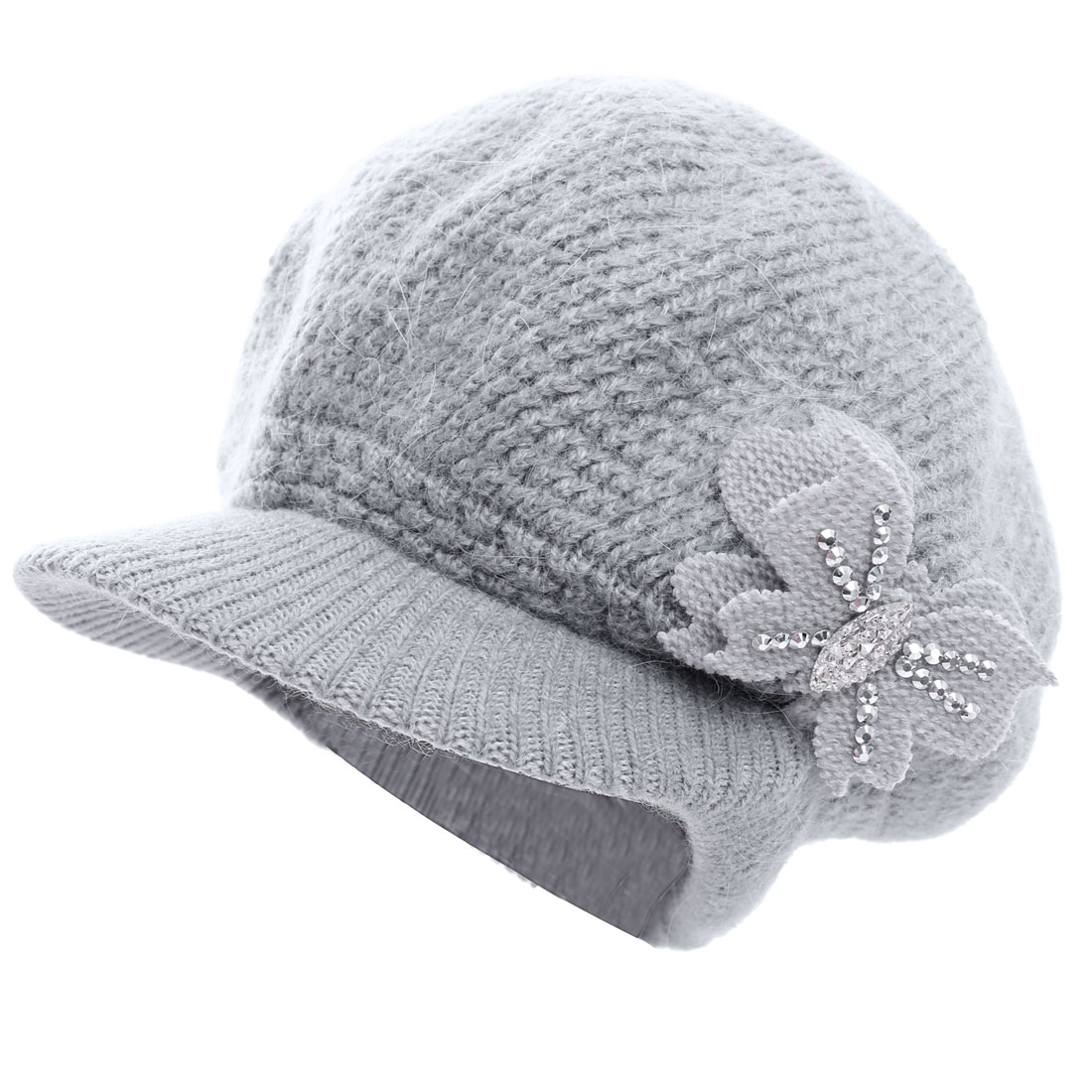 Ladies Butterfly Pattern Textured Design Knitted Hat Gray