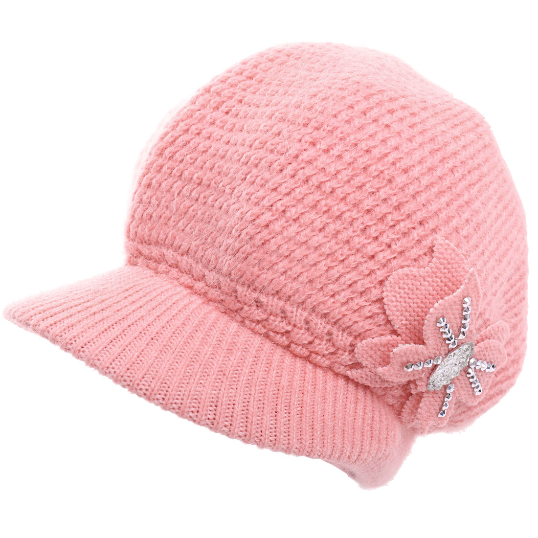 Ladies Textured Design Stretchy Winter Wearing Knitted Hat Pink