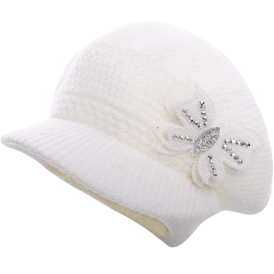 Women Butterfly Design Textured Knitting Beret Brim Hat White