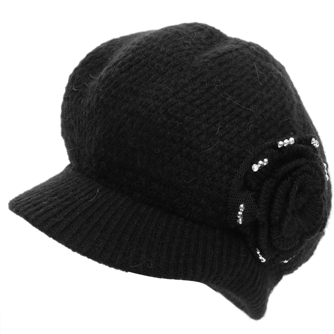 Women Solid Flower Pattern Ribbing Winter Beret Hat Black
