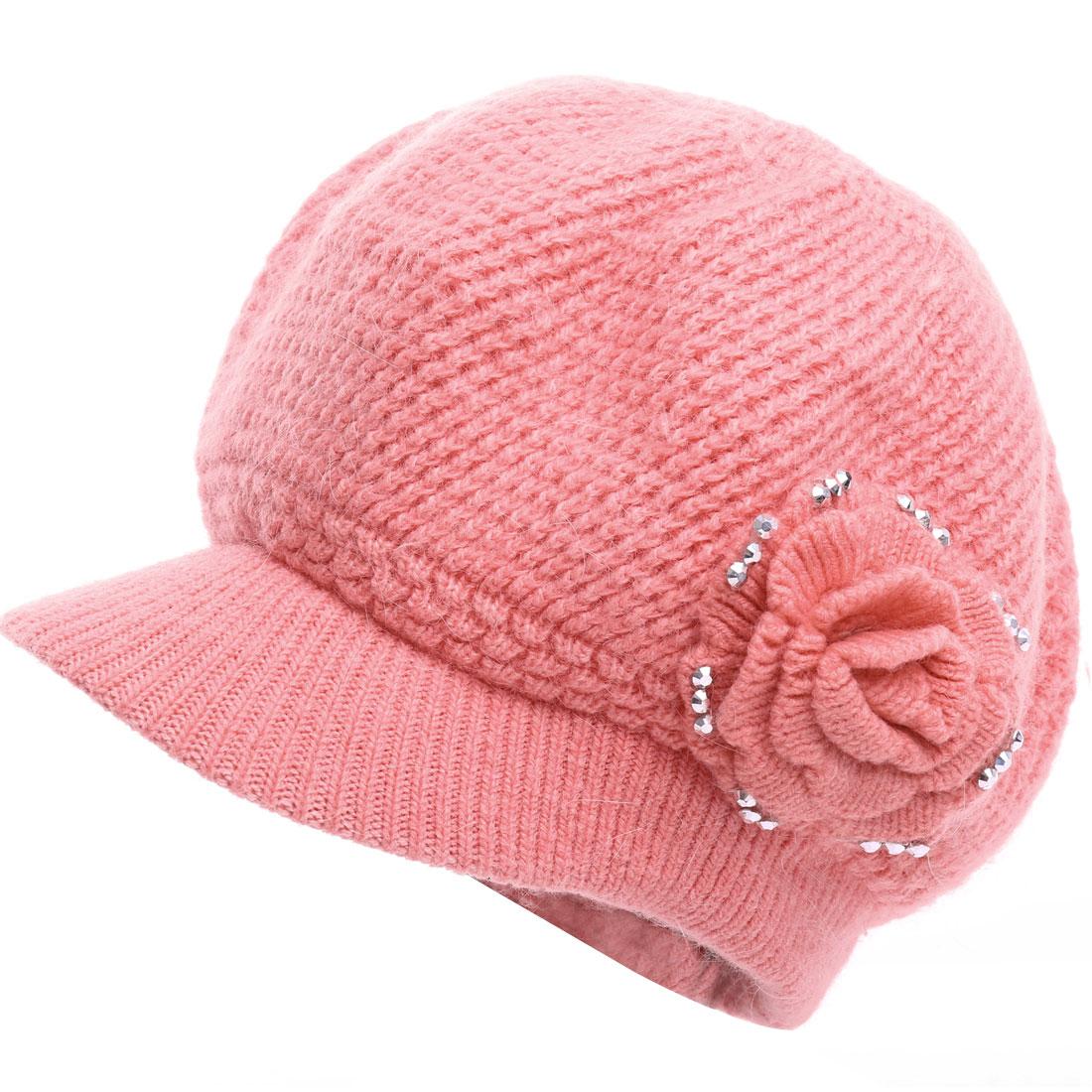 Women Flower Design Winter Wearing Elastic Beret Hat Pink
