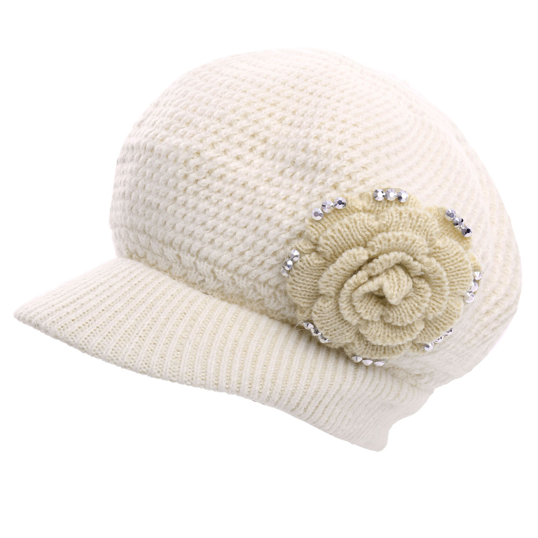 Women Studs Detail Stretchy Warm Knitted Beret Hat Beige