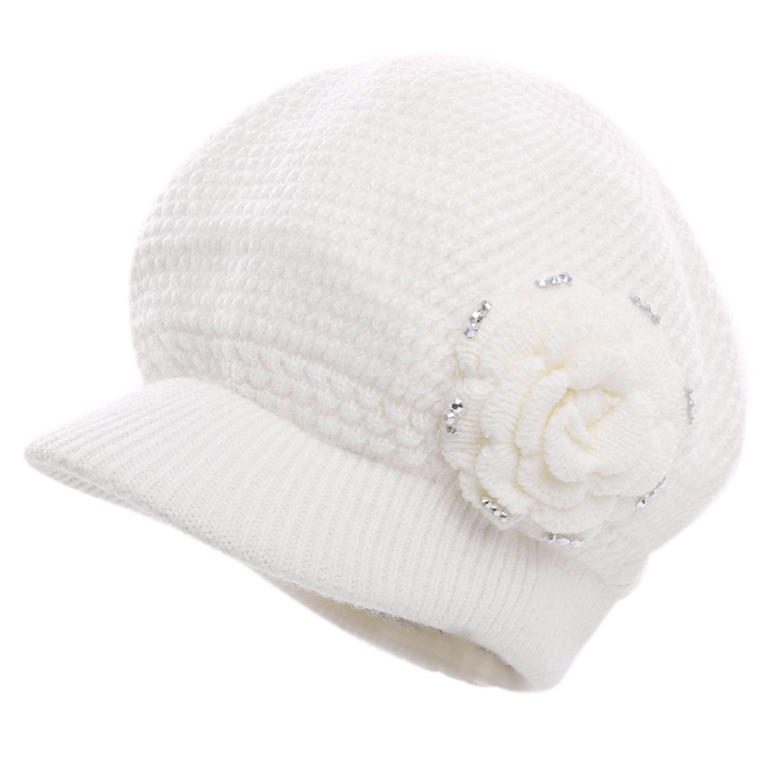 Ladies Solid Flower Style Brim Warm Fashion Beret Hat White