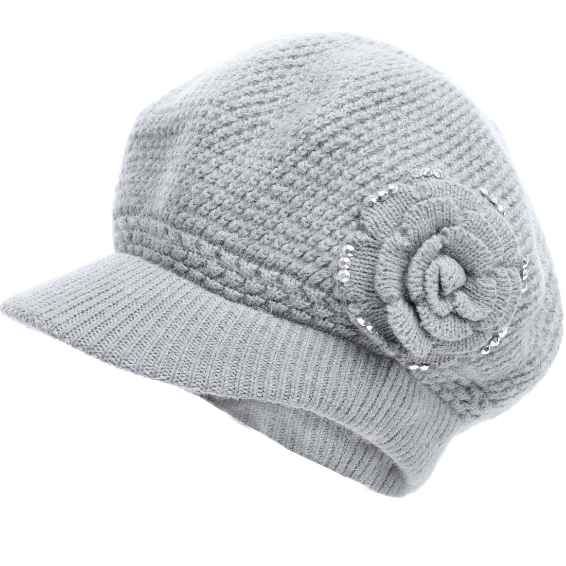 Women Studs Decor Stylish Brim Knitting Beret Hat Gray