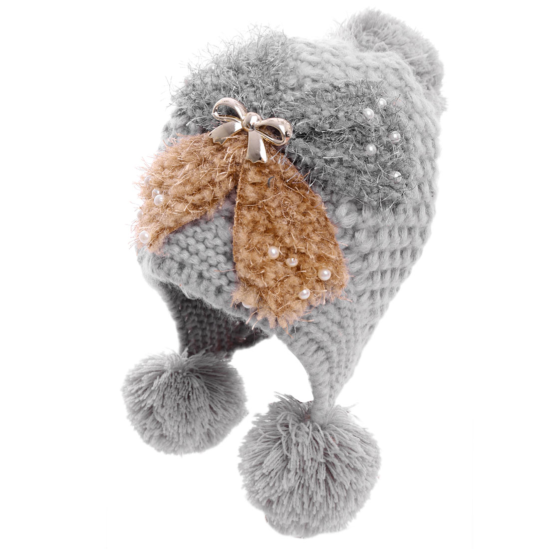 Women Bowknot Design Beads Embellished Knitted Beanie Hat Gray