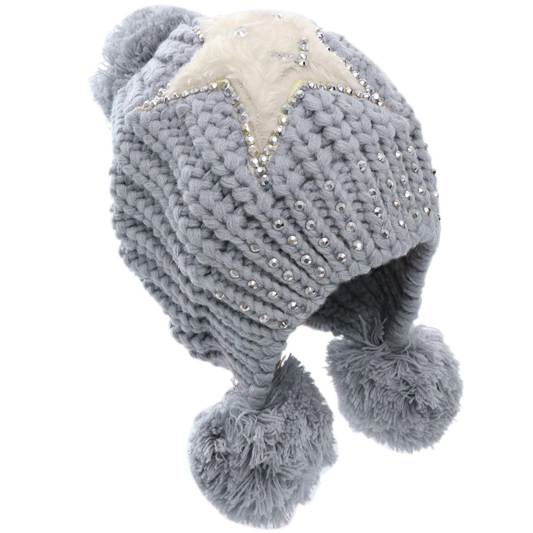 Woman's Fashionable Stars Pattern Studs Decor Gray Knitting Hat