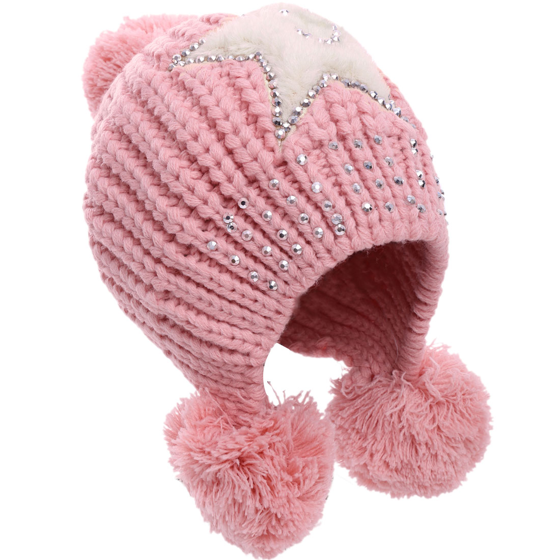 Women's Cute Stars Pattern Studs Decor Pink Pom Pom Knitted Hat