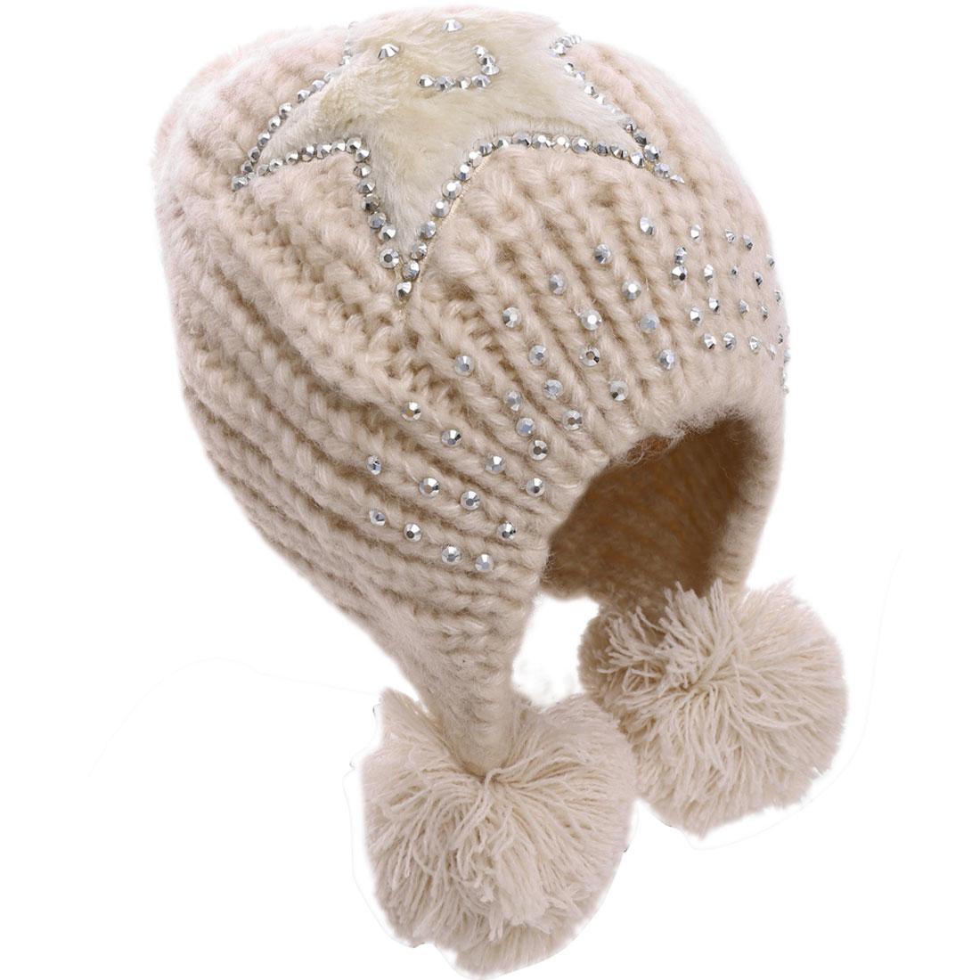 Women's Studs Decor Stars Design Knitting Hat Beige