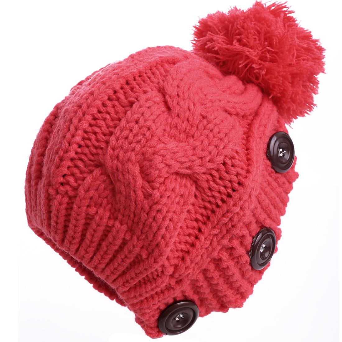 Lady Lady Pom-pom Stretchy Watermelon Red Knitted Beanie Hat