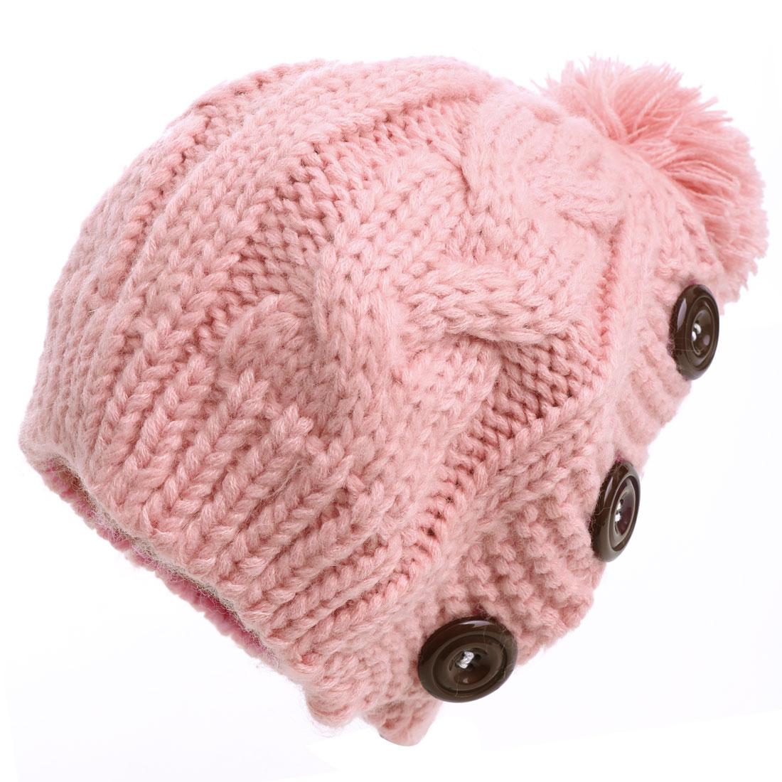 Lady Pom-pom Braided Detail Stretchy Pink Knitted Beanie Hat