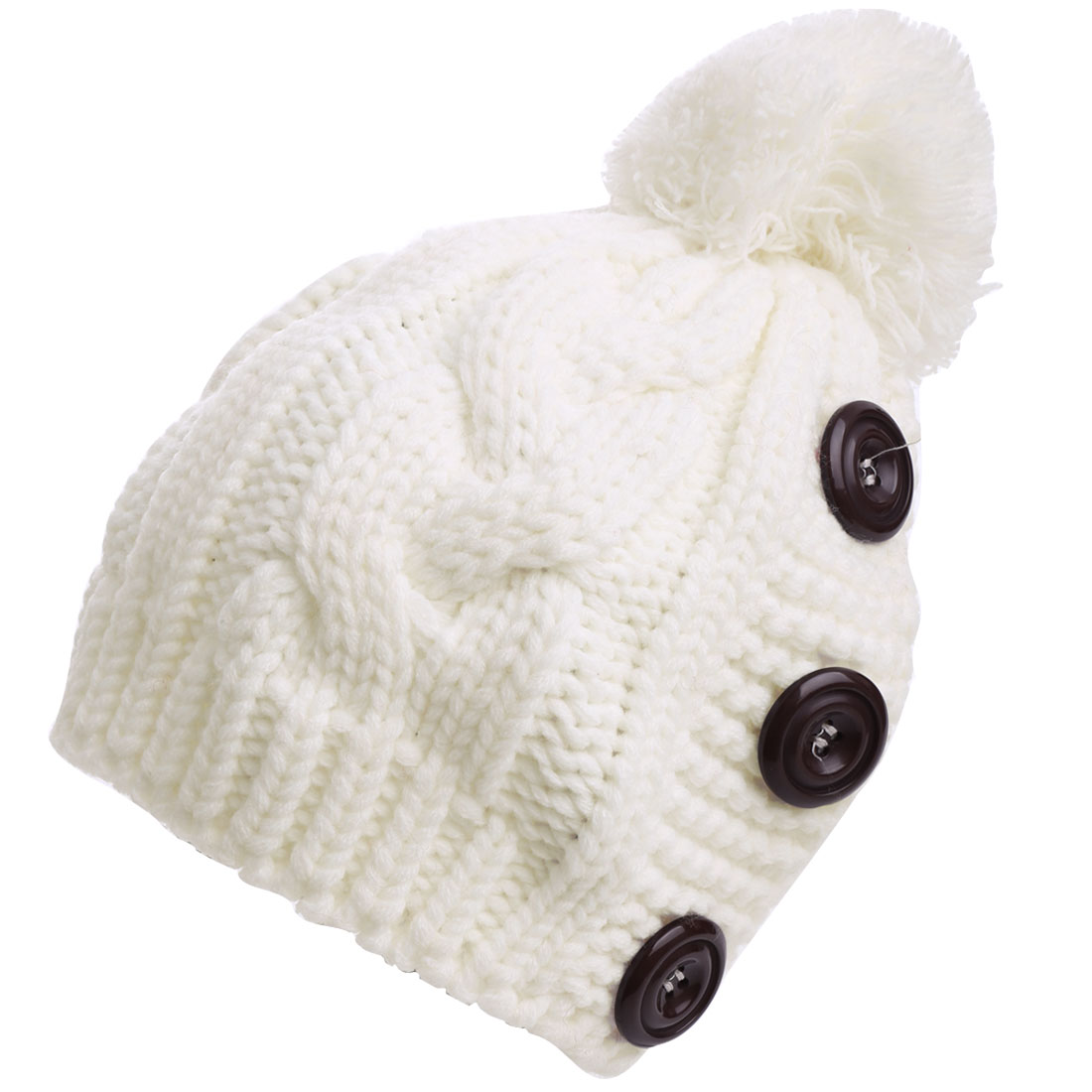 Lady Pom-pom Button Design Elastic White Knitted Beanie Hat