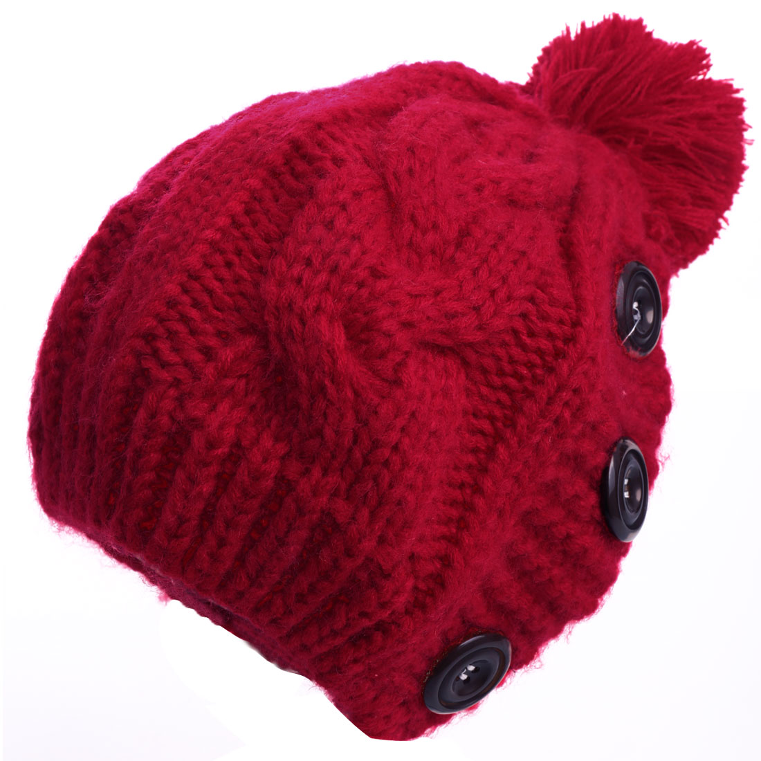Lady Pom-pom Button Design Braided Detail Stretchy Red Knitted Beanie Hat