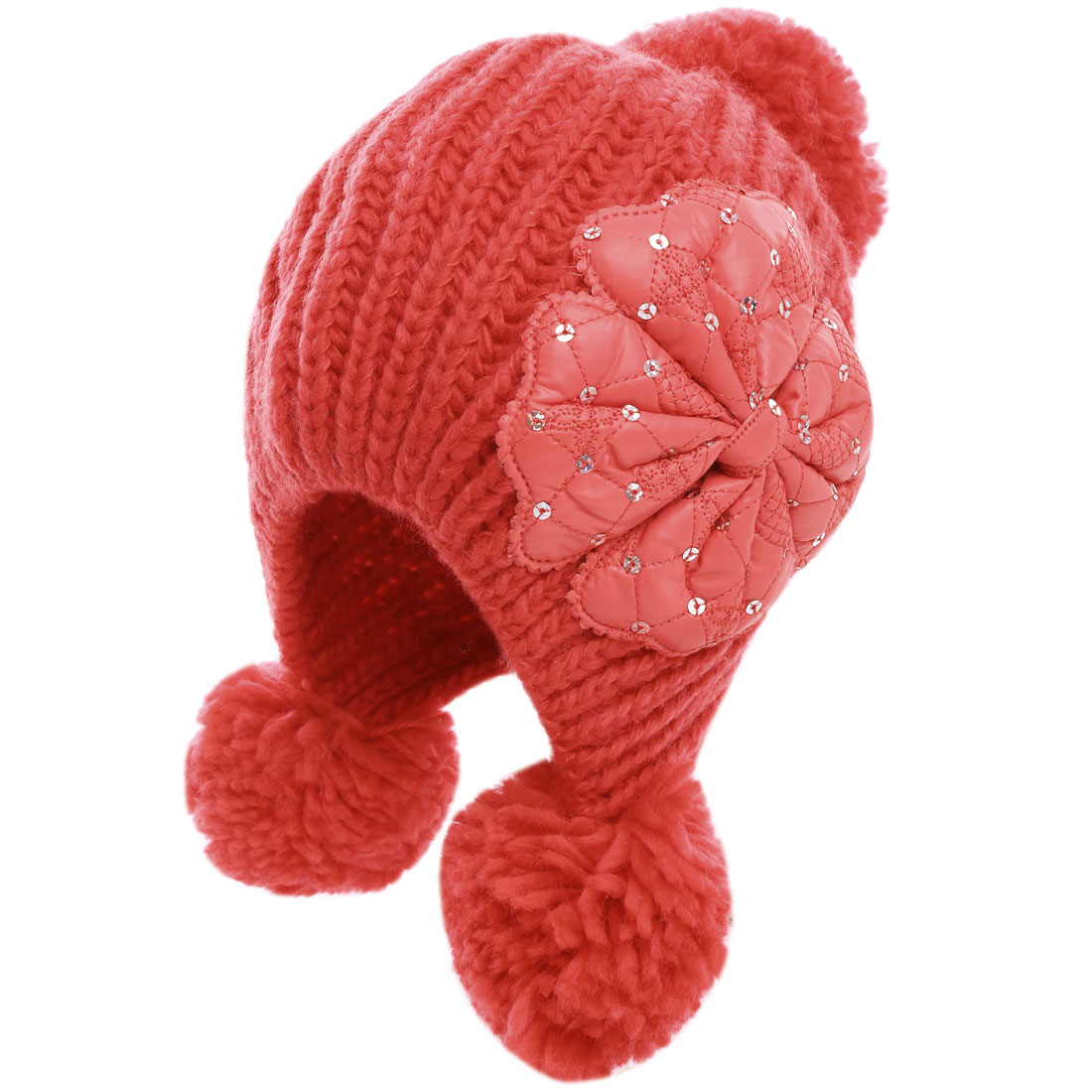 Lady Lovely Pom Pom Knitting Earmuff Red Beanie Cap