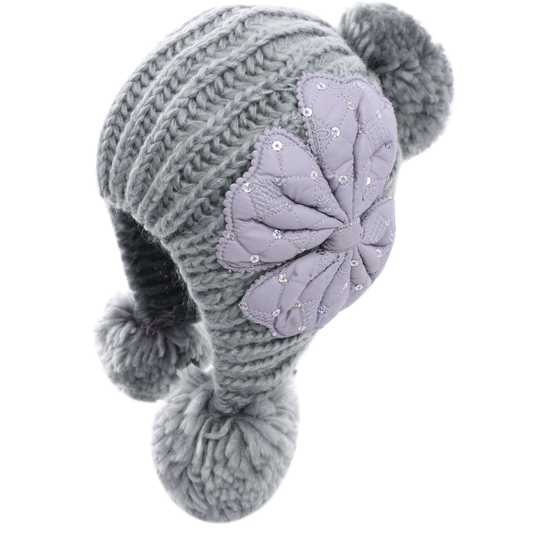 Women Bowknot Decor Earmuff Stretchy Gray Beanie Cap