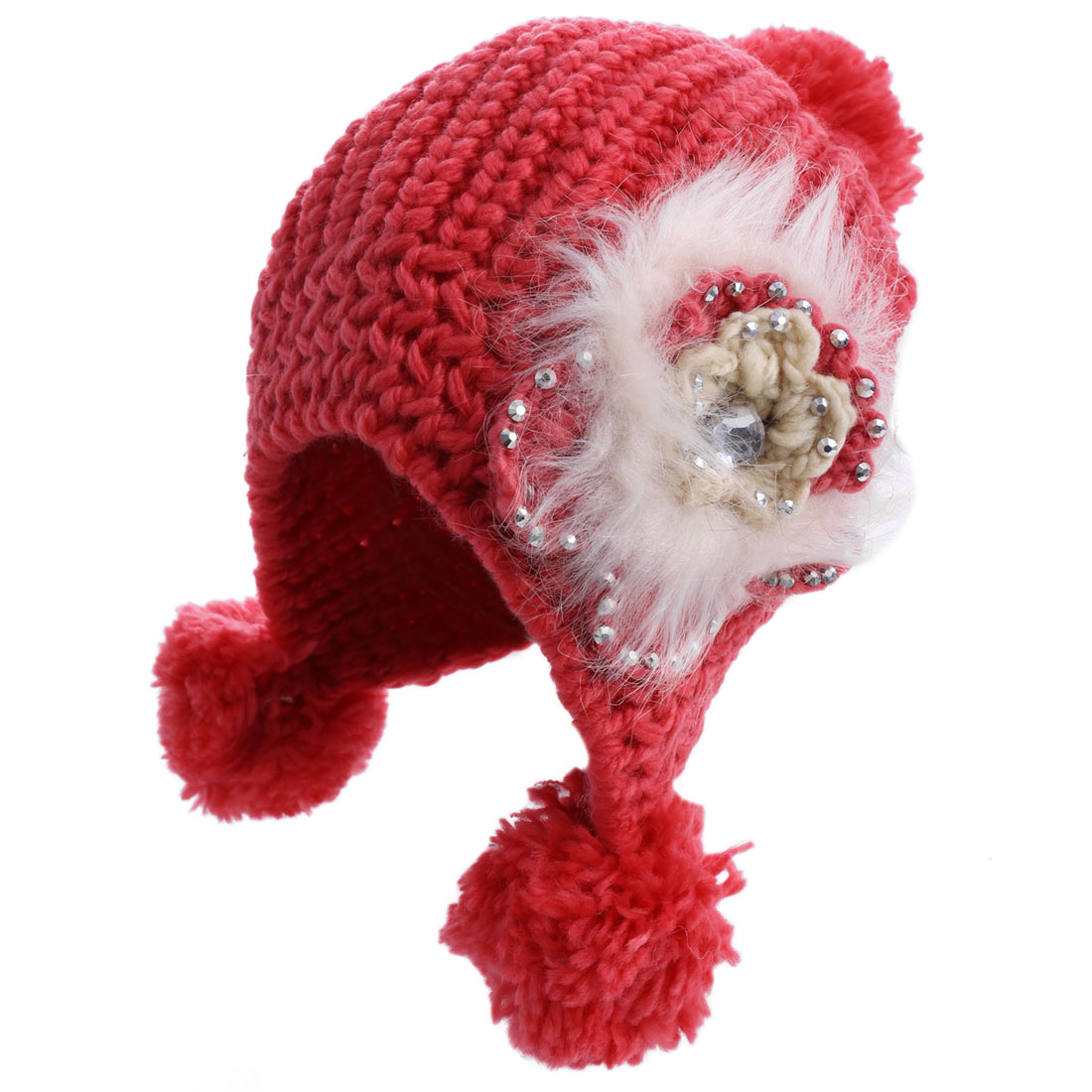 Lady Pom-pom Flower Pattern Stretchy Red Knitted Beanie Hat