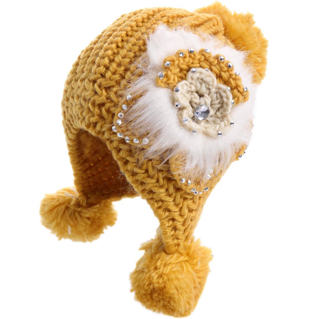Lady Pom-pom Flower Decor Elastic Yellow Knitted Beanie Hat
