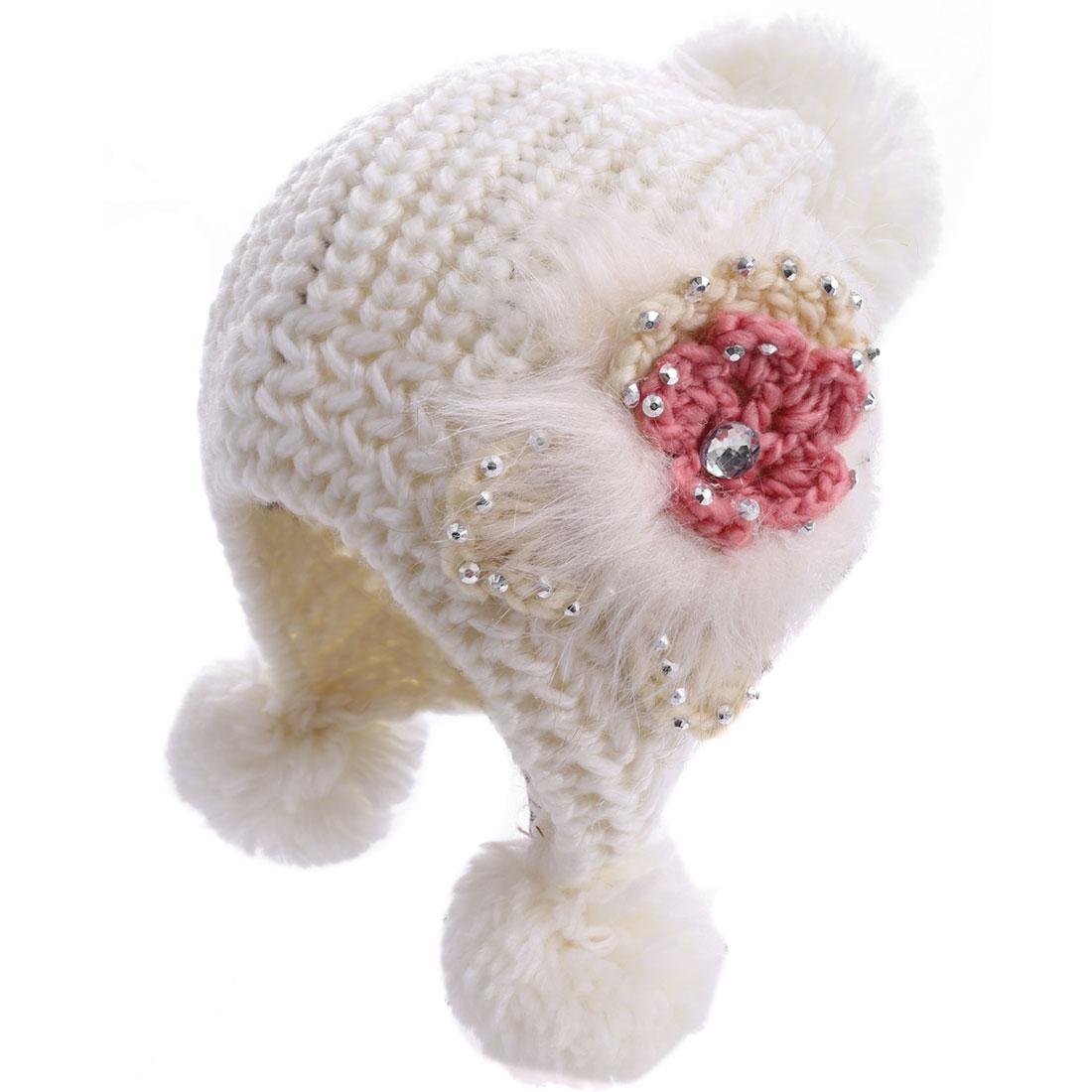 Lady Pom-pom Flower Pattern Elastic White Knitted Beanie Hat