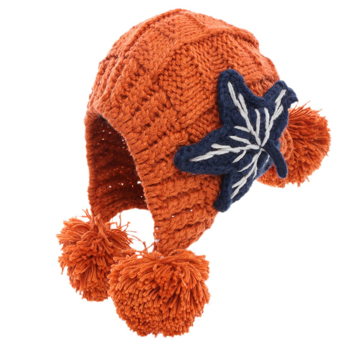 Women Pom Pom Design Winter Warm Knitted Beanie Hat Rust