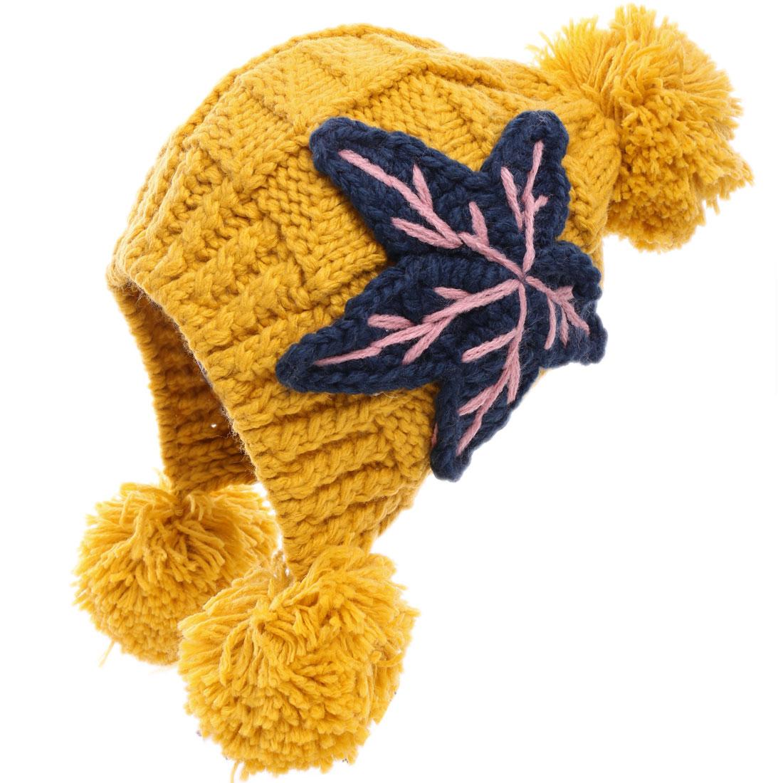 Stretchy 3 Pom Pom Knitting Beanie Hat for Women Yellow
