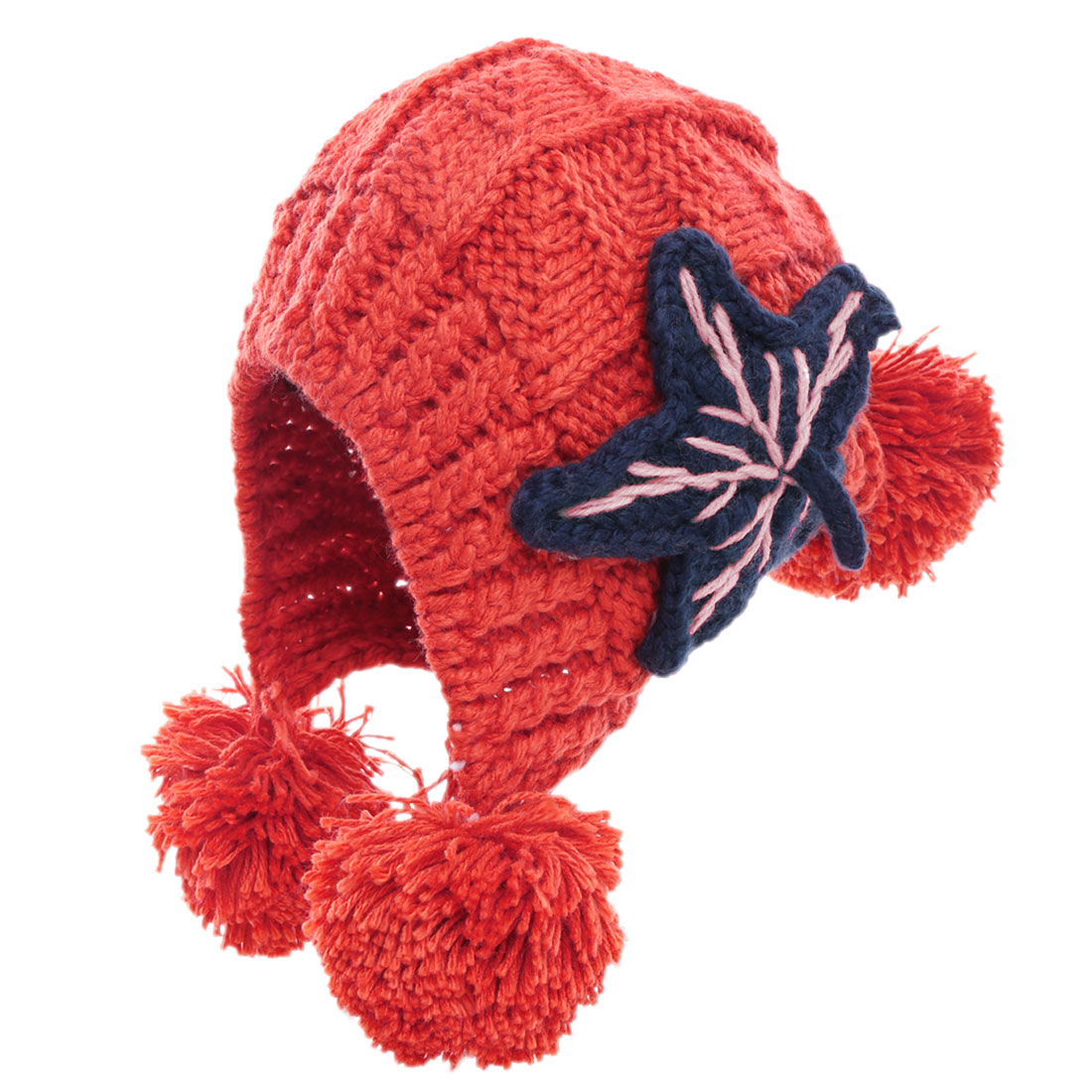 Women Star Embellished Stretchy Warm Knitted Beanie Hat Red