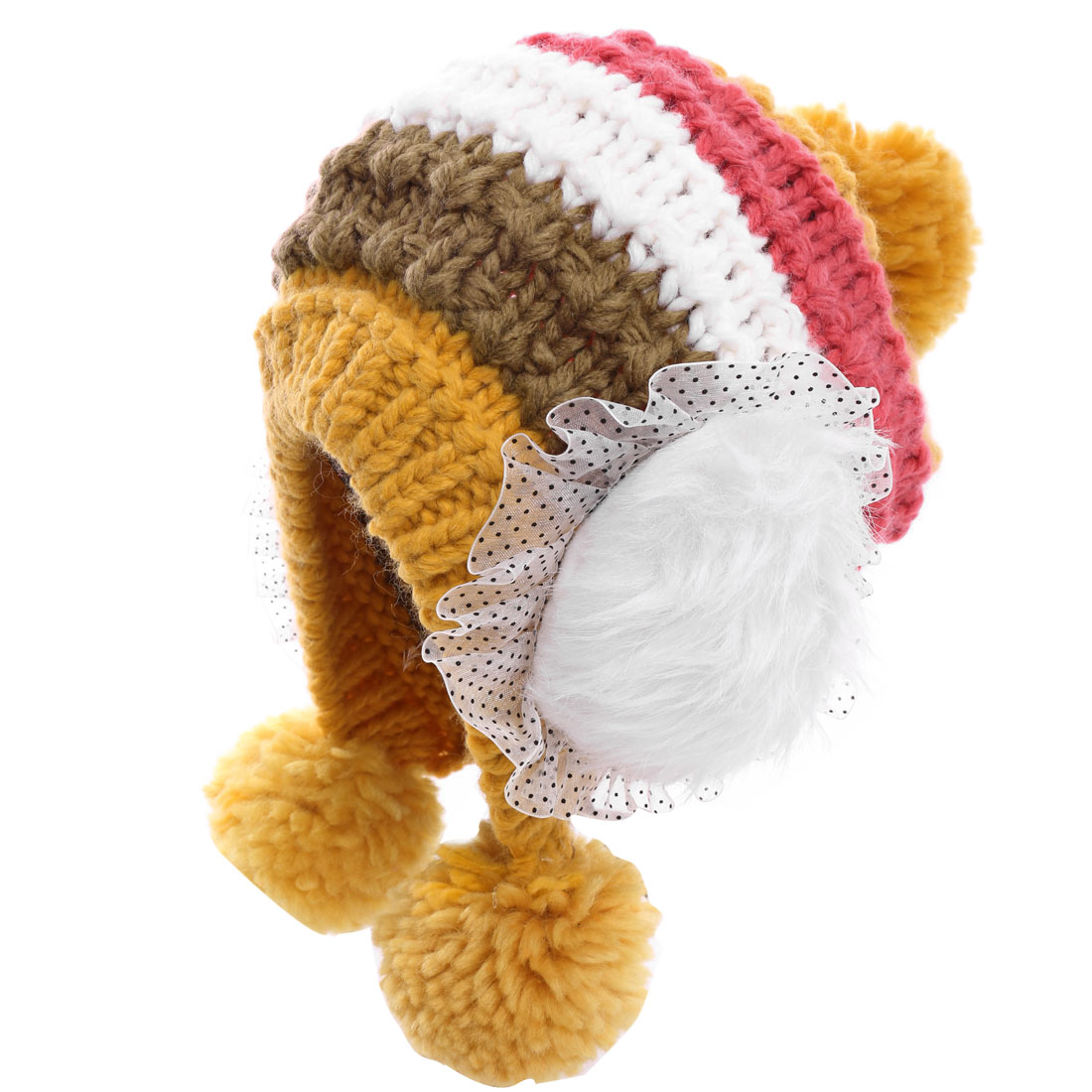 Sweet Yellow Red Colorblock Stretchy Knitted Pom-Pom Hat for Lady