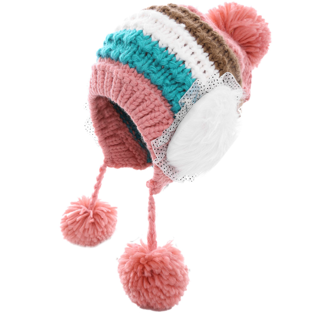 Pretty Pink White Contrast Color Striped Knitted Beanie Hat for Lady