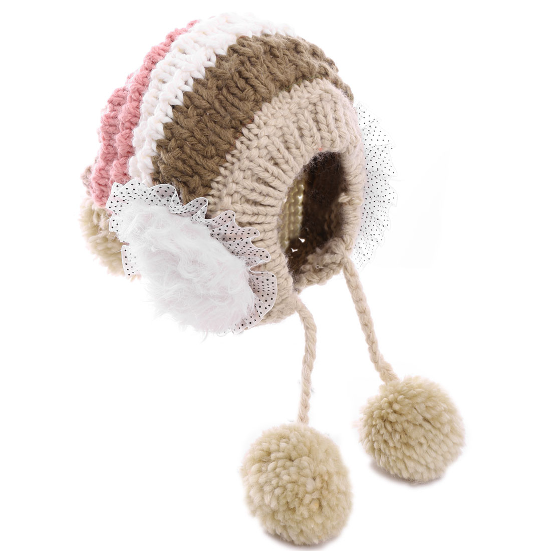 Ladies Contrast Color Khaki Pink Striped Knitted Beanie Hat