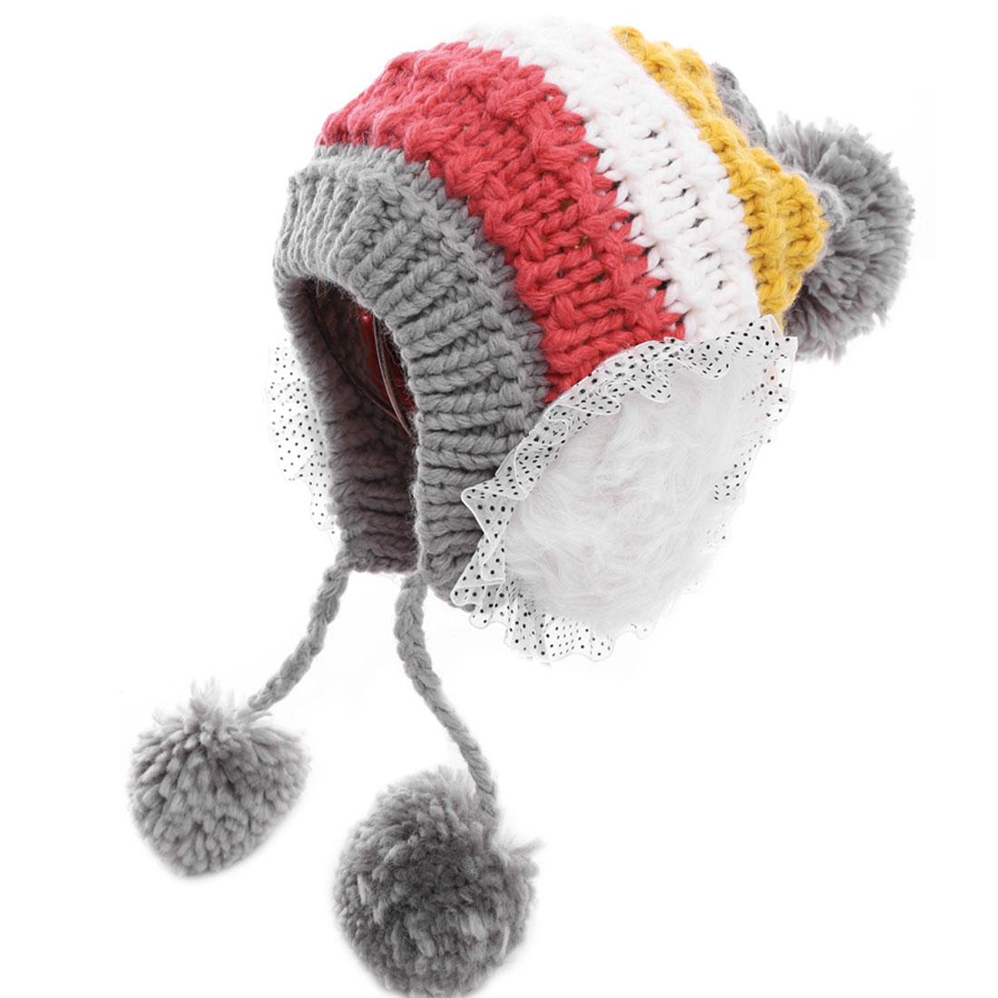 Women Sweet Faux Fur Heart Panel Decor Gray Yellow Knitted Hat