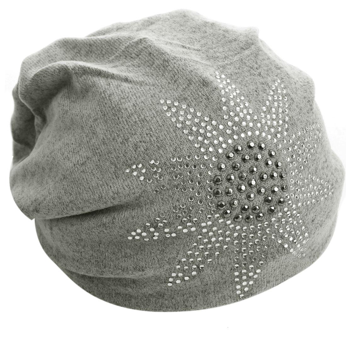 Men Women Topless Stretchy Rhinestone Ribbed Knitting Hat Light Gray