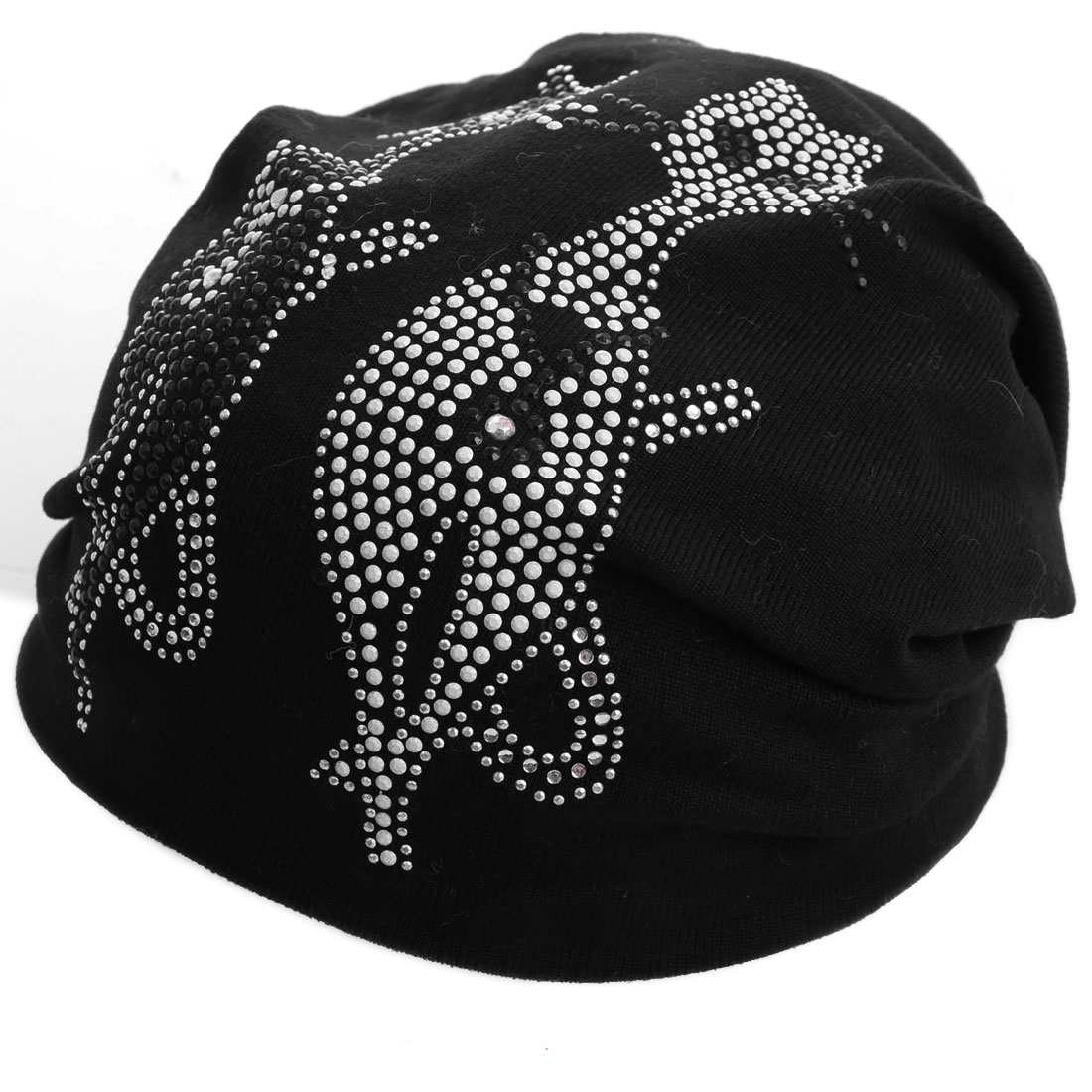 Black Double Foxes Pattern Studs Embellished Knit Beanie Hat Men Women