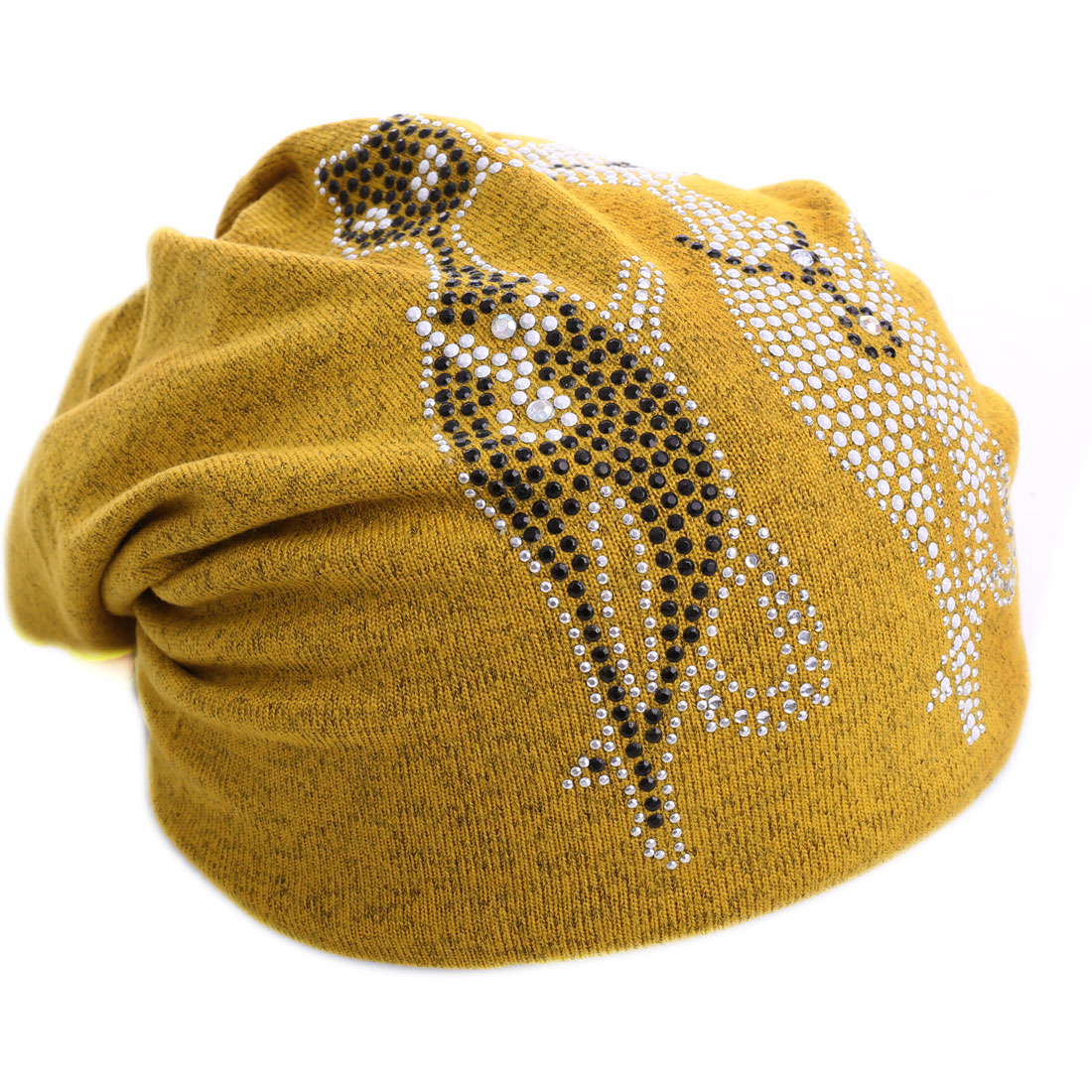Yellow Stylish Studs Detail Topless Knitted Hat for Men Women
