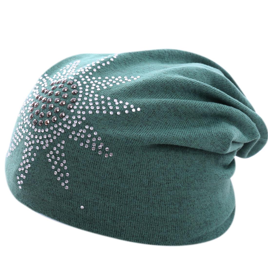 Men Women Crochet Knitting Rhinestone Decor Green Beanie Cap