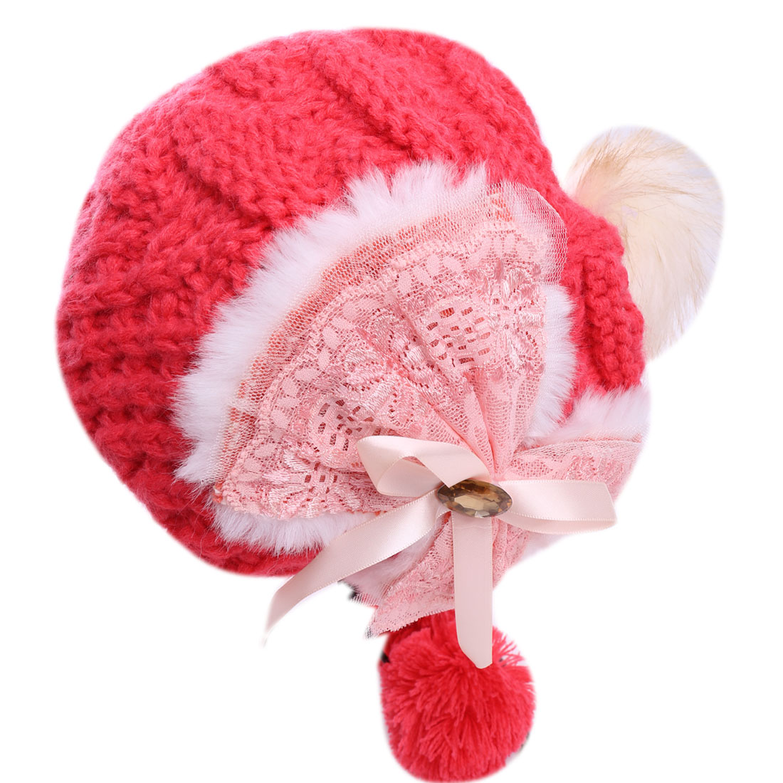 Ladies Sweet Watermelon Red Color Faux Fur Pom-Pom Knitted Hat
