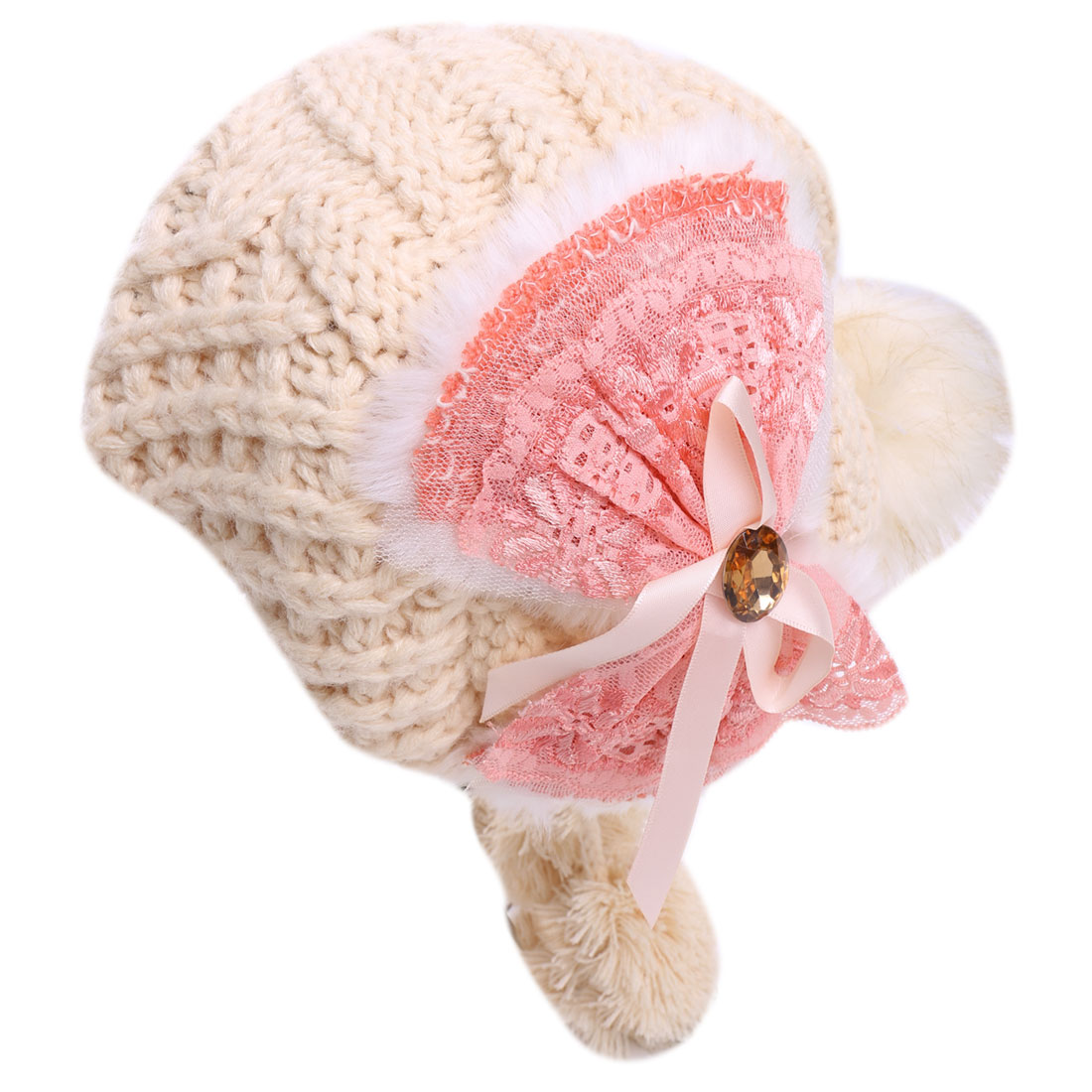 Lady Faux Fut Pom-Pom Top Beige Color Knitted Beanie Hat