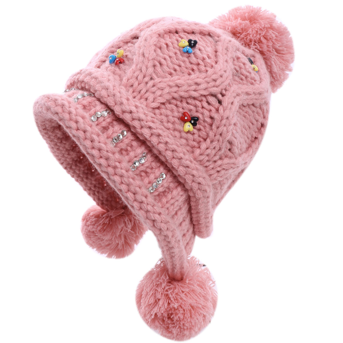 Pretty Pink Color Rhinestones Studded Knitted Beanie Hat for Lady