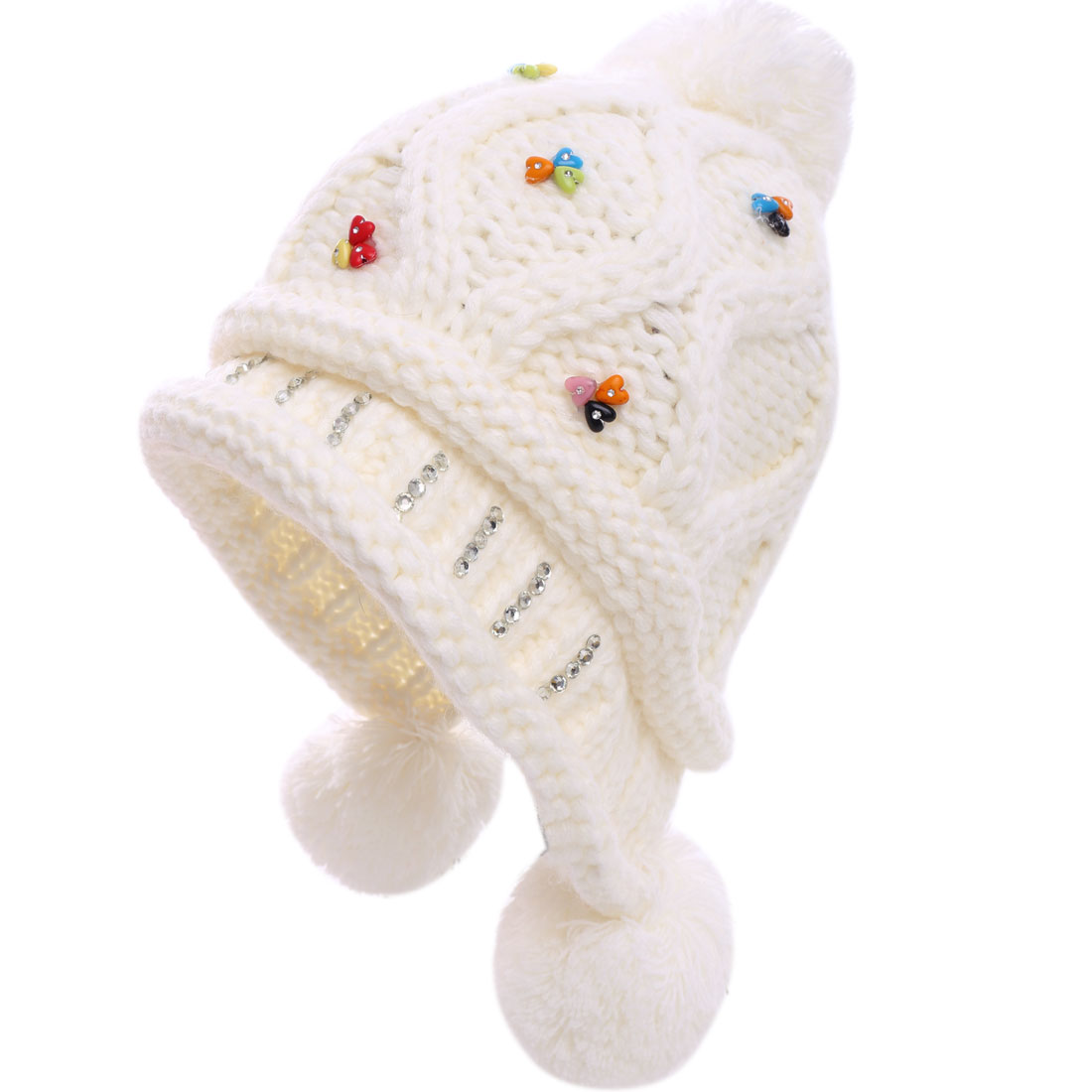 Woman Colorful Rhinestones Studded White Cable-Knitted Hat