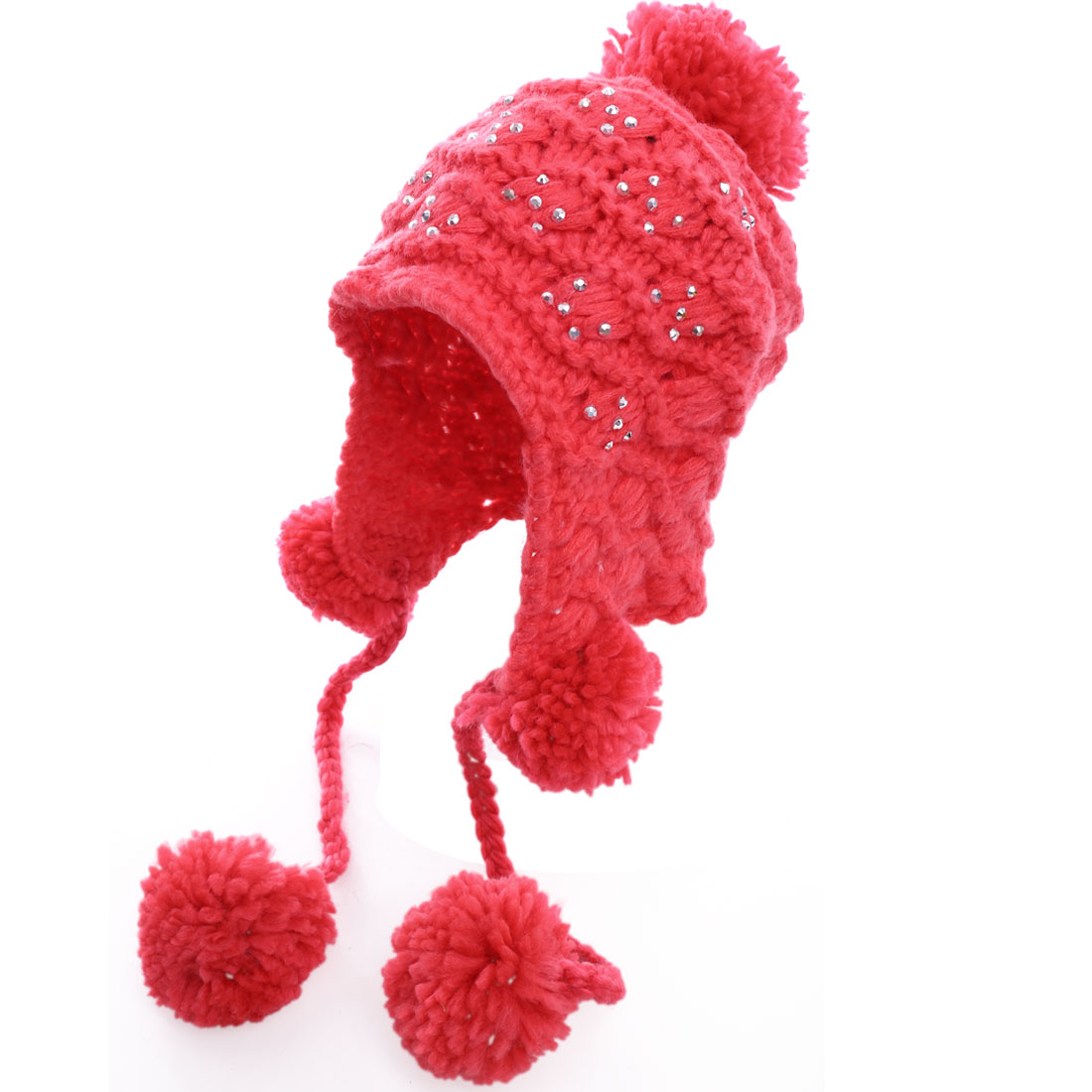 Lady Crochet Knitting Watermelon Red Pom Pom Beanie Cap