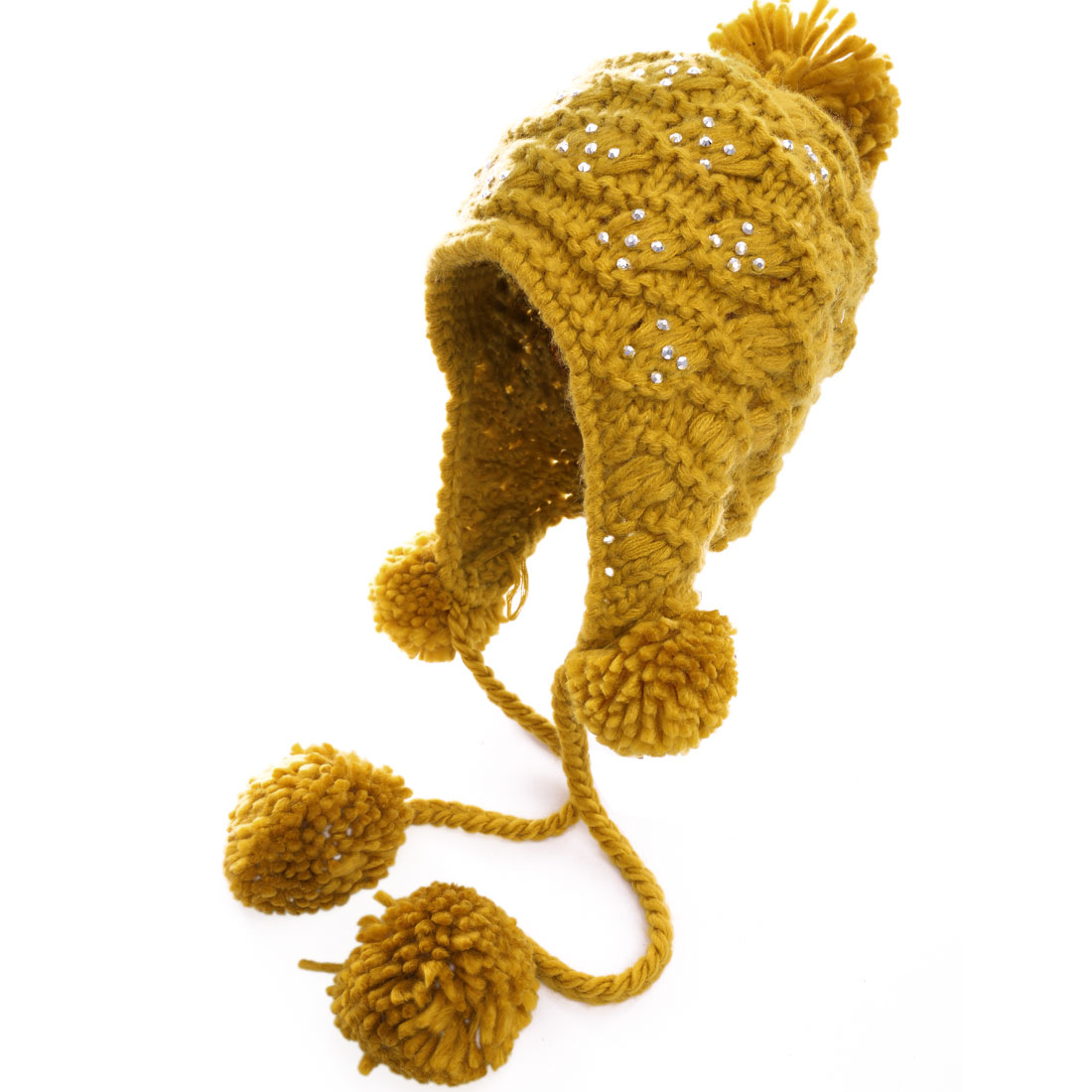Ladies Warm Winter Earmuff Crochet Knitting Yellow Beanie Cap