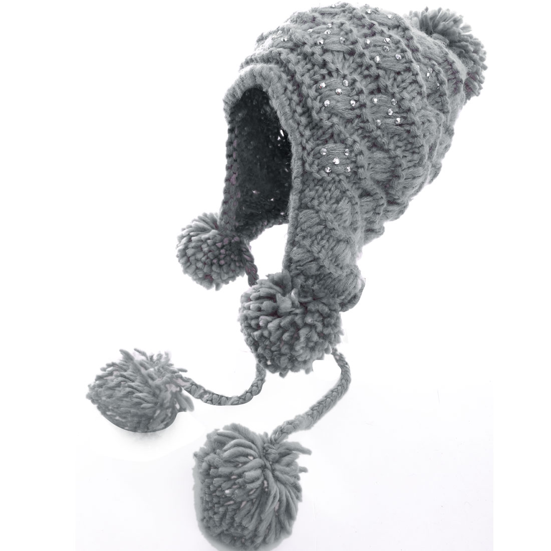 Ladies Lovely Pom Pom Rhinestone Decor Gray Knit Beanie Cap