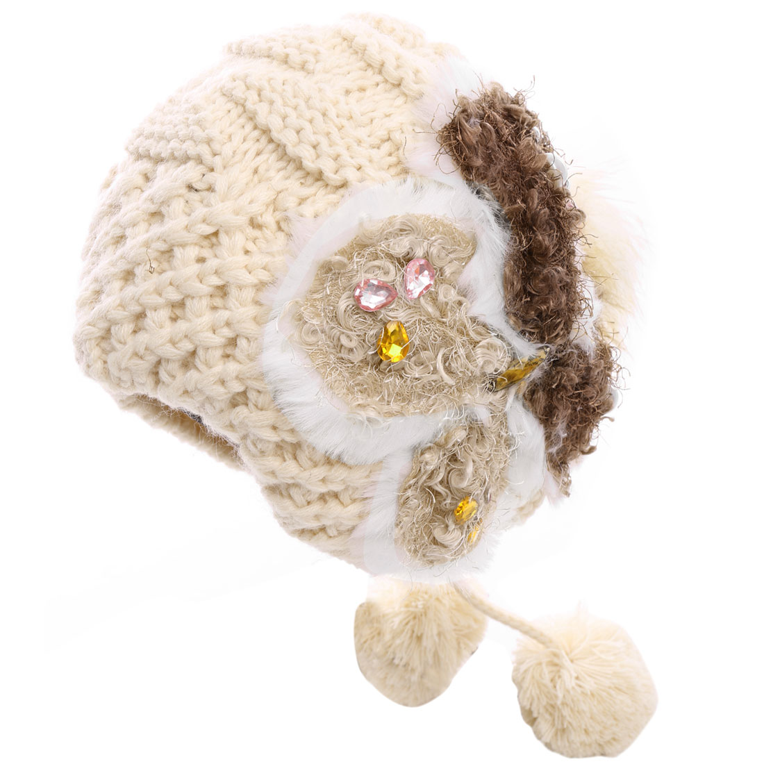 Women Furry Pom-Pom Rhinestone Decor Knitting Hat Beige
