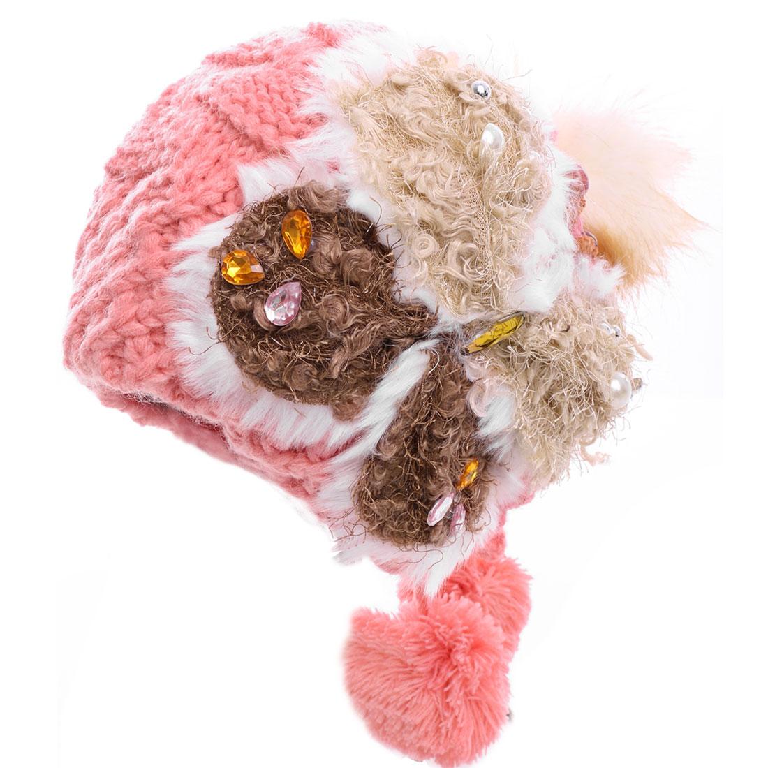 Women Furry Pom-Pom Beads Decor Knitted Beanie Hat Pink