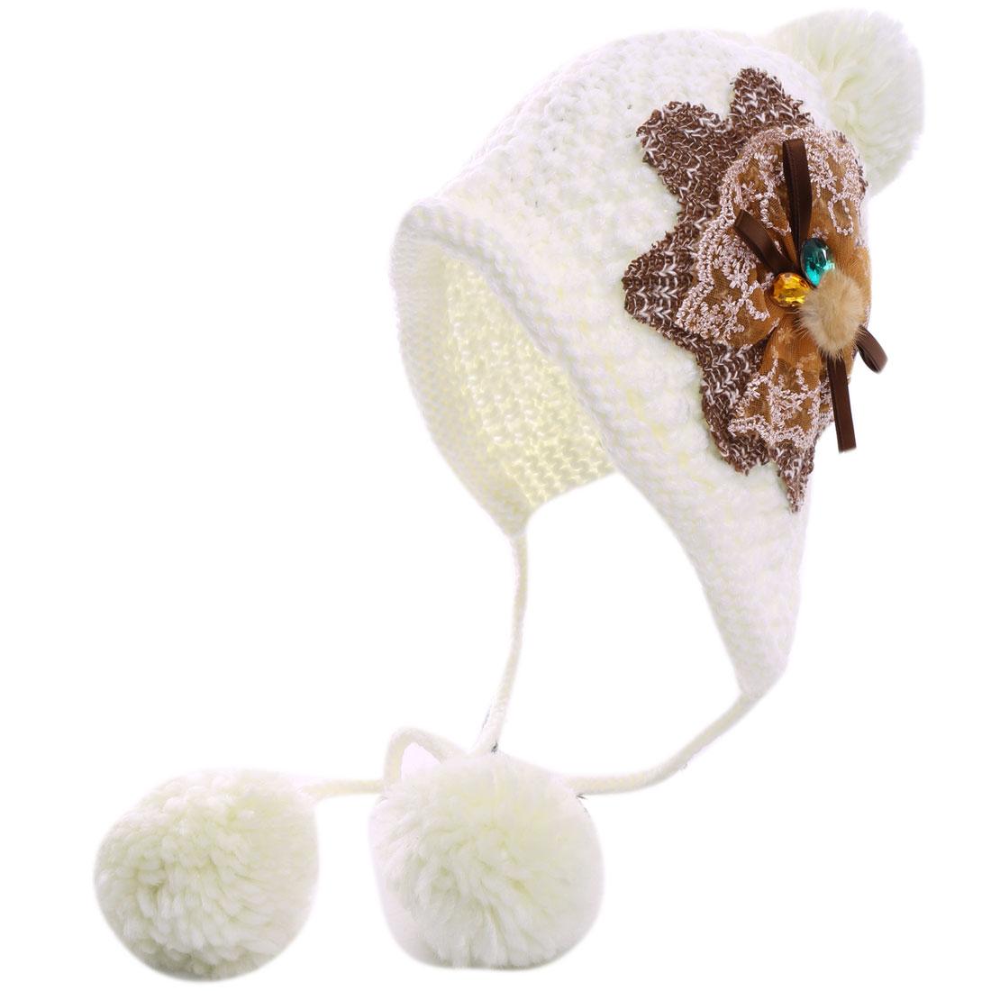 Lady Bowknot Decoe Earmuff White Knit Beanie Cap
