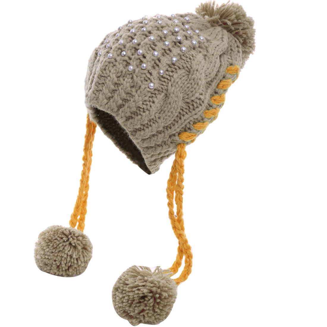 Women's Fake Pearl Embellished Lovely Pom Pom Knitted Ear Flap Hat Coffee