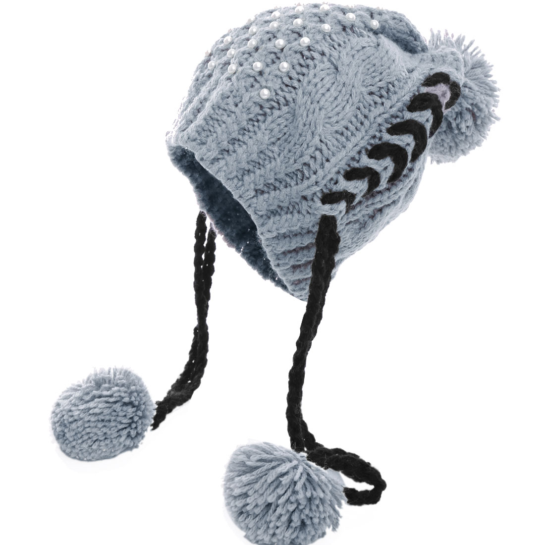 Lady's Faux Pearl Decor Pom Pom Kintted Cable Hat Gray