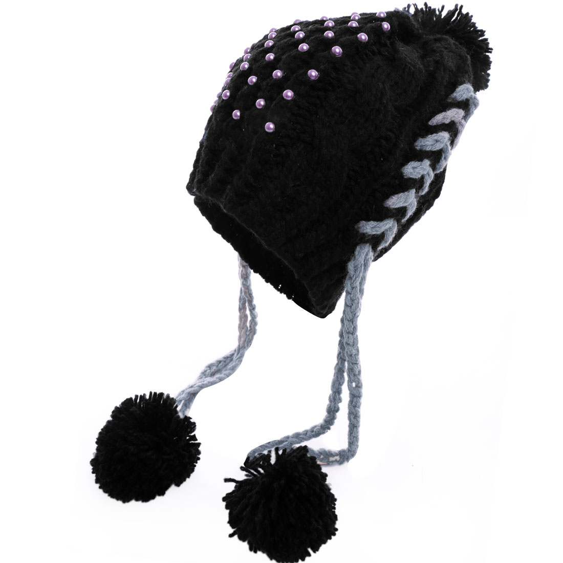 Lady's Fake Pearl Decor Pom Pom Black Cable Kintted Hat